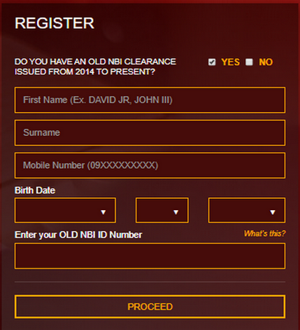 Yes Register NBI
